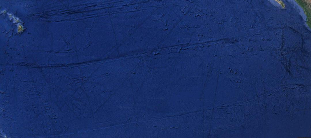 Satellitenaufnahme Clarion- und die Clipperton- Bruchzonen