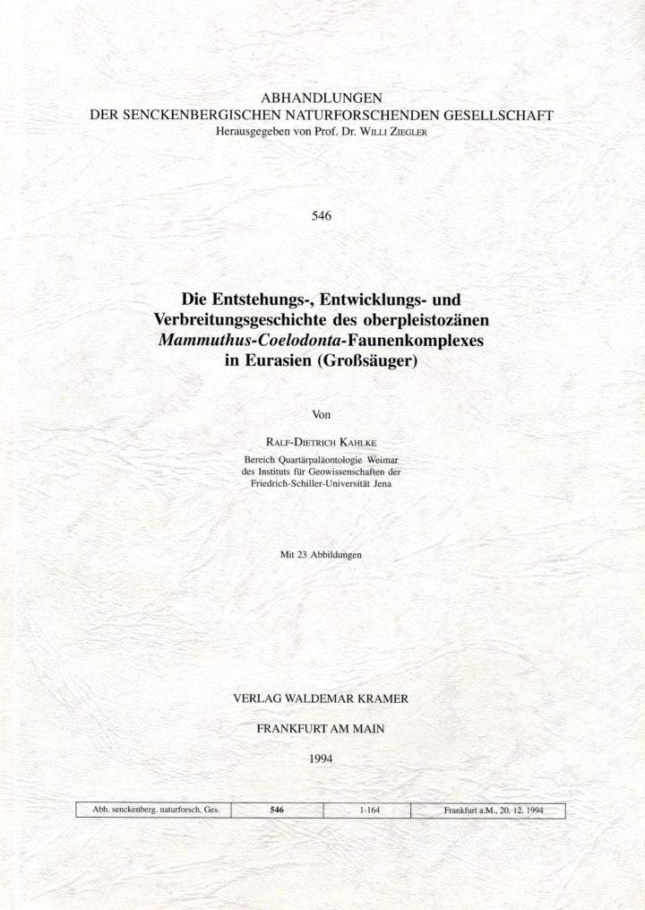 Cover Abhandlungen der Senckenbergischen Naturforschenden Gesellschaft 546