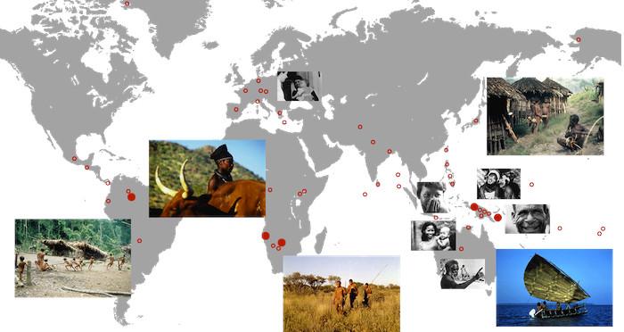 Weltkarte Humanethologisches Filmarchiv