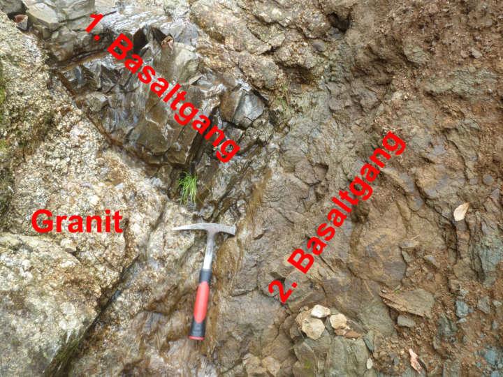 Gangkreuzung im Granit